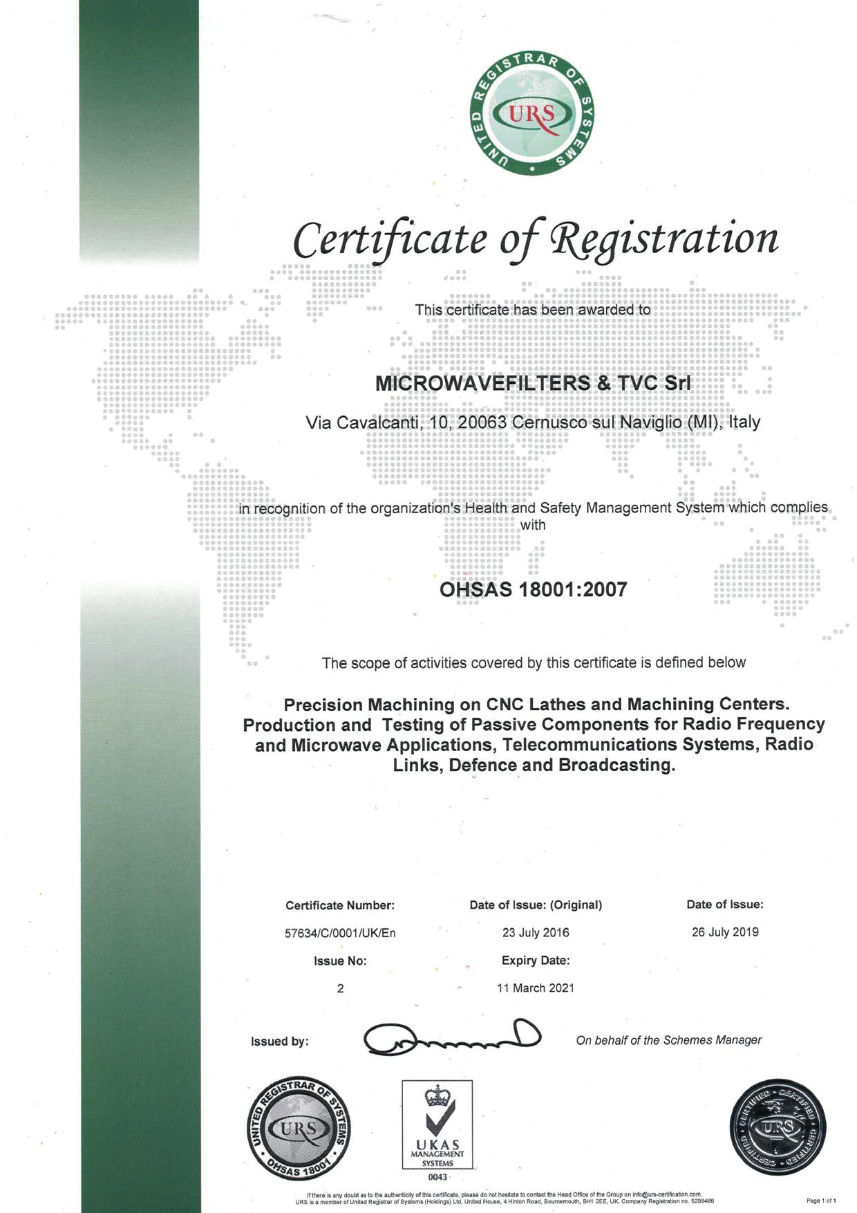 English Certificate OHSAS 18001